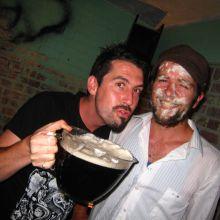 Drunken curator and accomplice
